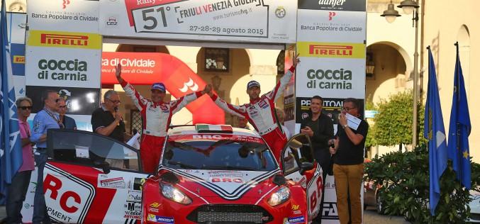 Basso e la Fiesta LDI di BRC Gas Equipment risalgono al secondo posto in campionato con l'ottimo podio ottenuto al 51° Rally del Friuli e Alpi Orientali
